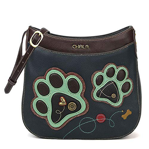 Chala Handbags Paw Print Crescent Crossbody Handbag Purse, Dog Mom