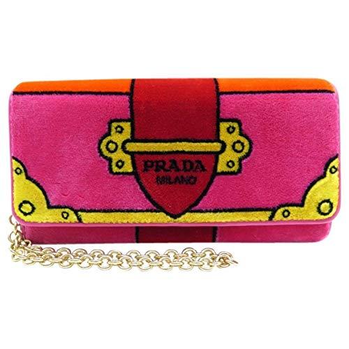 Prada Portafoglio Pattina Cammello Pink Velvet Ricamo Wristlet 1MH019
