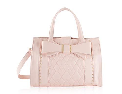 Betsey Johnson Stud Quilted Bow Triple Compartment Satchel Tote Bag – Pink