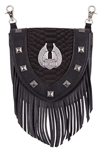 Harley-Davidson Women's Fringe Python Leather Pouch w/Strap, Black HDWBA11352