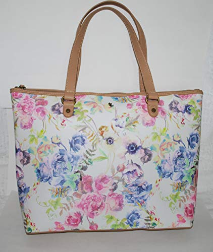 Elliott Lucca Women's Aria 13″ Tote Shoulder Bag White with Floral Print