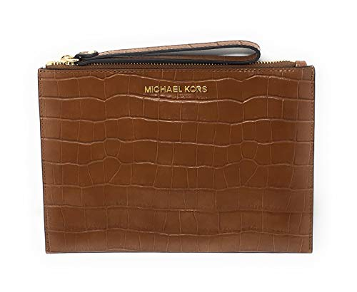Michael Kors Jet Set Travel XL Zip Clutch Embossed Leather Walnut