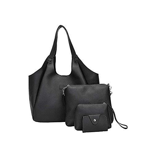 PERHAPS U Purses and Handbags for Women Fashion Tote Bag Shoulder Bag Top Handle Satchel 4pieces Soft Leather Hobo Purse Set (Black)