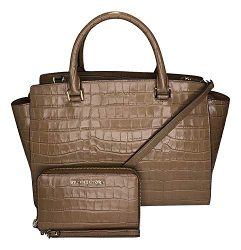 MICHAEL Michael Kors Selma Large TZ Satchel bundled with Jet Set Travel Flat Phone Wristlet/Wallet (Walnut Embossed Crocodile)