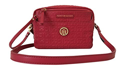 Tommy Hilfiger Red Logo Embossed Crossbody Handbag With Wristlet Pouch