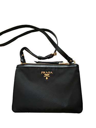 Prada Women's Over The Shoulder Handbag 1bh046 Black Nylon Cross Body Bag