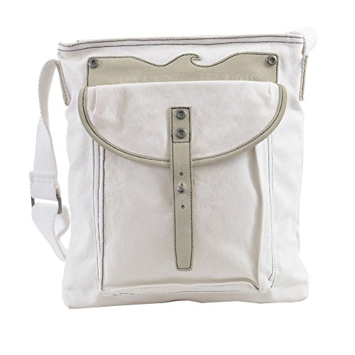 Armani Jeans Unisex White Leather Trimmed Cross Body Messenger Bag