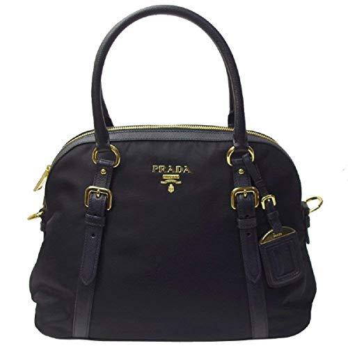 Prada Tessuto Nylon and Saffiano Leather Black Satchel 1BB013