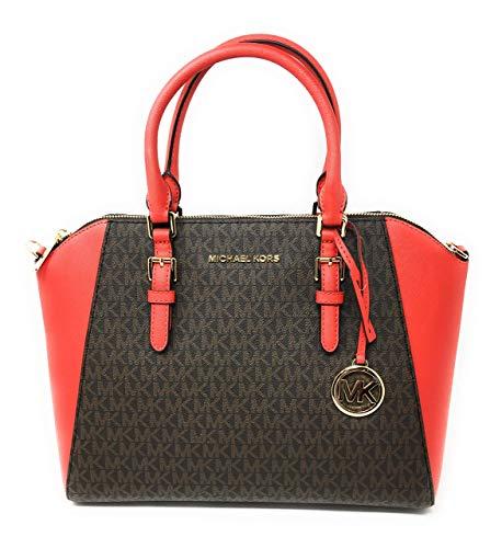 Michael Kors Ciara Large Top Zip Satchel Bag Dark Sangria