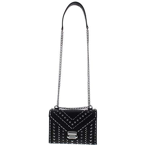MICHAEL Michael Kors Womens Whitney Leather Studded Shoulder Handbag Black Small