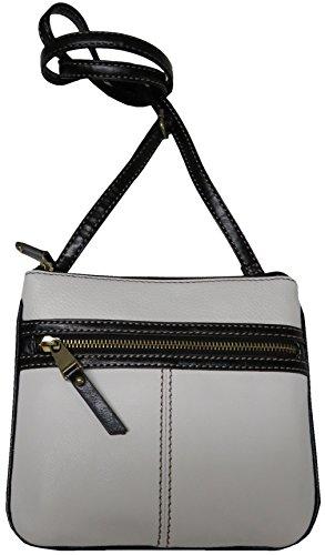 Tignanello Women's Leather Everyday Casual Crossbody, White/Black