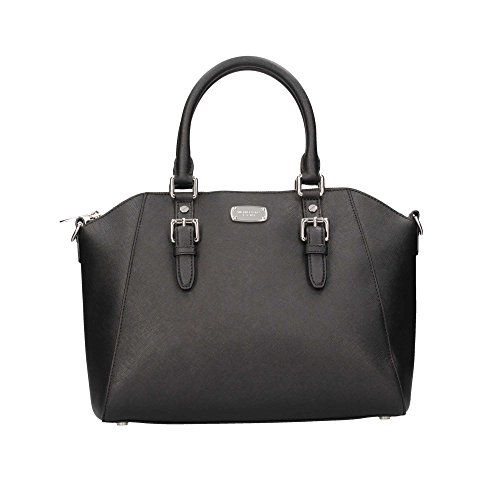Michael Kors Ciara Large Top Zip Saffiano Leather Satchel (Black)