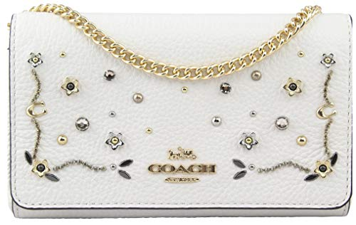 Coach Women's Studded Floral Chain Clutch in Chalk Multi, Style F56272