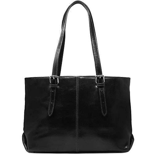 Floto Venezia Italian Leather Shopping Tote Bag Shoulder Bag Women's (Black)