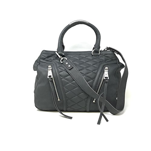 Aimee Kestenberg A236363 Black Quilted Leather Shopper Bag With Zipper Accents