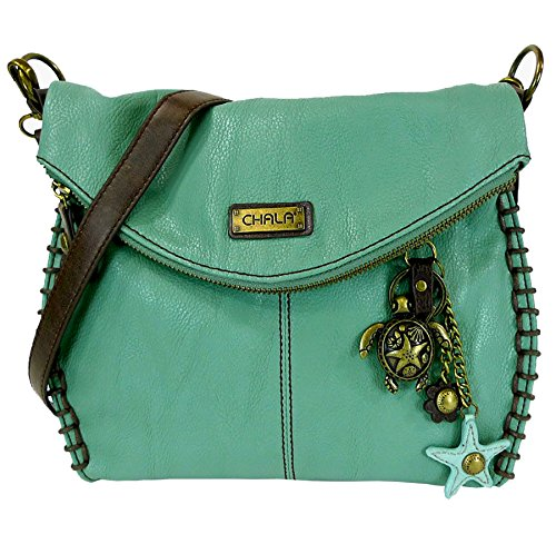 Chala Charming Crossbody Bag With Flap Top | Flap and Zipper Cross-Body Purse or Shoulder Handbag with Metal Chain – Teal – Turtle