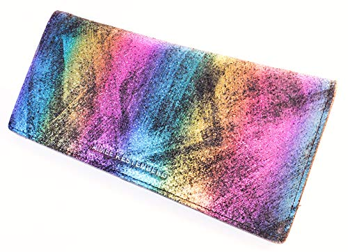 Aimee Kestenberg Marietta Bifold Wallet Black Rainbow Shimmer Leather