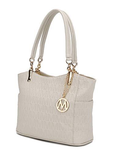 MKF Shoulder Handbag for Women: Vegan Leather Satchel-Tote Bag, Top-Handle Purse, Ladies Pocketbook Beige