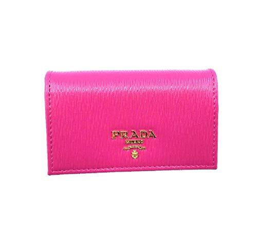 Prada Vitello Move Card Holder Fuchsia Pink Leather Pouch Wallet 1MC122