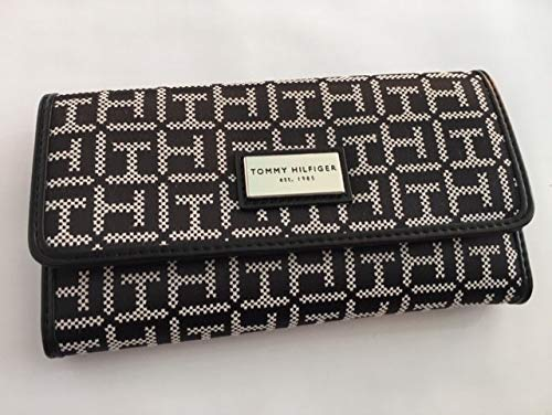 New Tommy Hilfiger Logo Duplicate Carbon Checkbook +Wallet Black 2 Piece Set