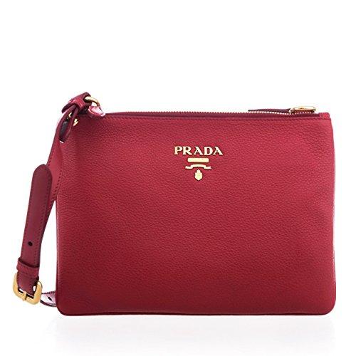 Prada Vitello Cherry Red Designer Leather Crossbody Shoulder Bag 1BH046