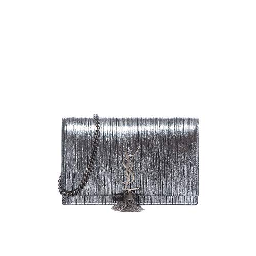 Yves Saint Laurent YSL Kate Lamé Lambskin Leather Wallet on a Chain Silver Black Bag New