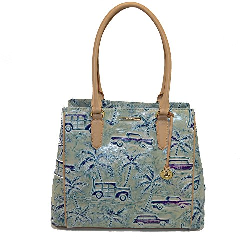 Brahmin Joan Tote Sky Copa Cabana Cars Leather Shoulder Tote
