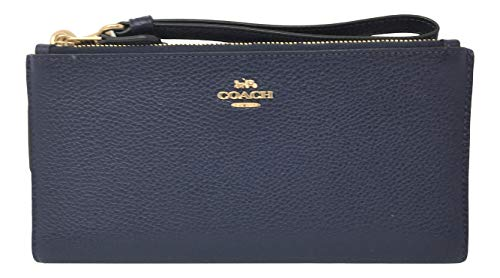 Coach Double Leather Wallet Wristlet 27495 Midnight Navy