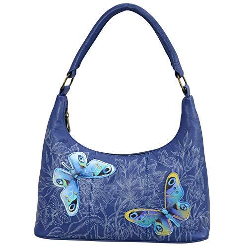 Anuschka Women's Genuine Leather Shoulder Bag | Top Zip Hobo | Hand Painted | Garden of Delights