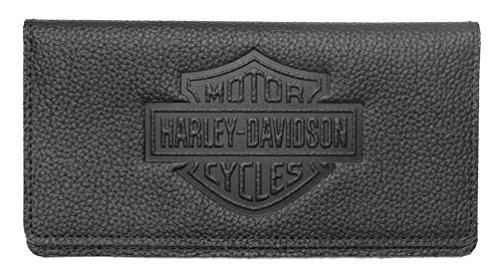 Harley-Davidson Womens B&S Embossed Checkbook Cover, Black Leather ZWL4752-BLACK