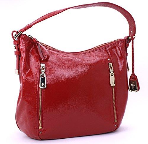 Cole Haan Parker Medium Hobo Shoulder Bag Patented Leather (Lantern Red)
