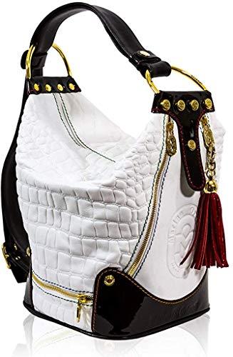 Marino Orlandi Italian Designer White Croc Leather Oversized Sling Bucket Bag
