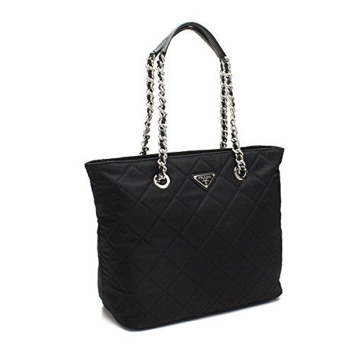 Prada Midnight Black Quilted Tessuto Chain Designer Shoulder Tote Bag for Women 1BG017
