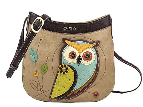 Chala Handbags Owl Crescent Crossbody Handbag Purse, Owl Lovers