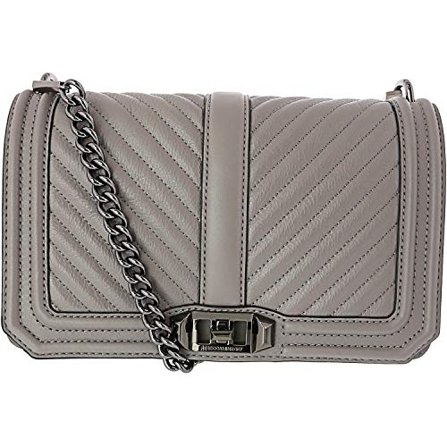 Rebecca Minkoff Women's Chevron Quilted Small Love Crossbody Grey One Size