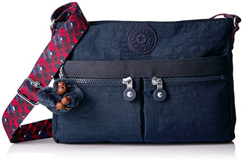 Kipling Angie Solid Crossbody Bag with Printed Strap, true blue
