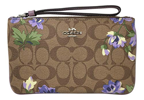 Coach Signature Coated Canvas Large Wristlet in a Lilly Print Khaki Purple F73368