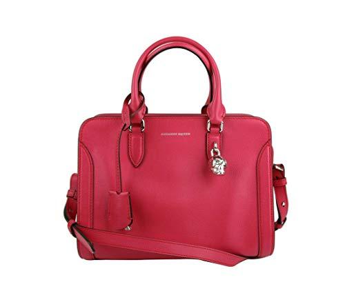 Alexander McQueen Women's Fuchsia Leather Medium Skull Satchel Bag 419780 5635