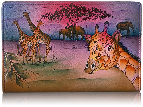 Anna by Anuschka Hand Painted Leather | Triple Compartment Wallet/Clutch | Serengeti Sunset