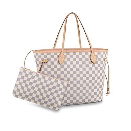 Women's Classic Canvas Never-full Top-Handle Tote Bag Large Capacity Haute Couture Shoulder Bag (MM 32CM, White-powder)