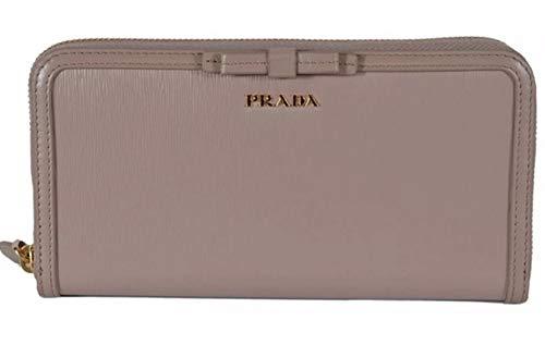 Prada Women's Vitello Move Blush Beige Bow Trim French Flap Zipper Wallet 1ML225