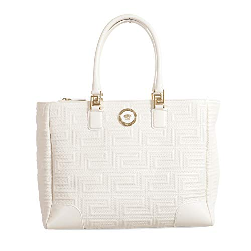 Versace Women's Quilted Off White Leather Satchel Tote Shoulder Bag