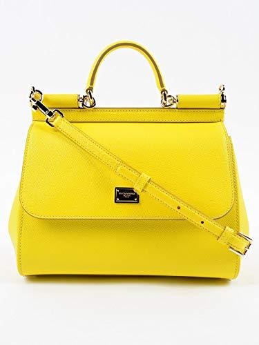 Dolce&Gabbana women's leather handbag shopping bag purse sicily yellow