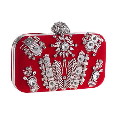 XIANGshan Diamond Clutch Bag Coin Purse Stylish Evening Bag Flannel Dress Evening Tote (Color: Red) 16 Long, 10 High and 5cm Thick -Handbag