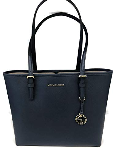 MICHAEL Michael Kors Jet Set Travel Medium Carryall Tote Saffiano Leather – Navy