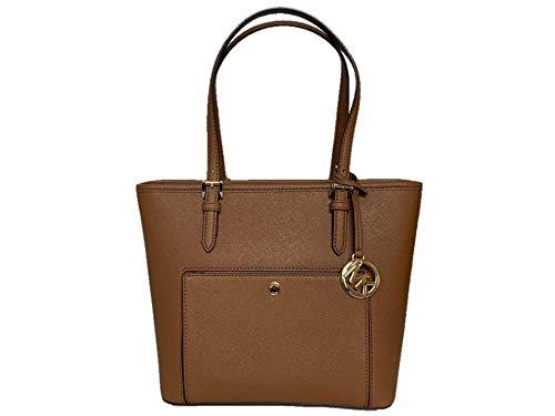 Michael Kors Jet Set Item Medium Top Zip Saffiano Leather Snap Pocket Tote – Luggage