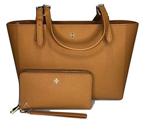 Tory Burch Emerson Small Buckle Tote bundled with Tory Burch Emerson Zip Passport Continental (Cardamom), X-Large