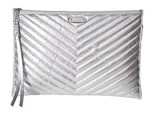 Rebecca Minkoff Women's Chevron Zip Clutch, Silver, One Size