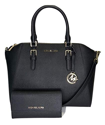 MICHAEL Michael Kors Ciara Large TZ Satchel bundled with Michael Kors Jet Set Travel Large Trifold Wallet (Black)