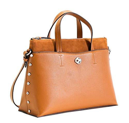 Aimee Kestenberg Women's Leather Mariah Satchel Shoulder Bag Chestnut Brown